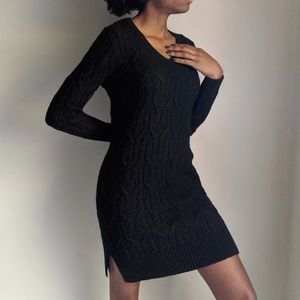 Ann Taylor Cable Knit V-neck Sweater Dress
